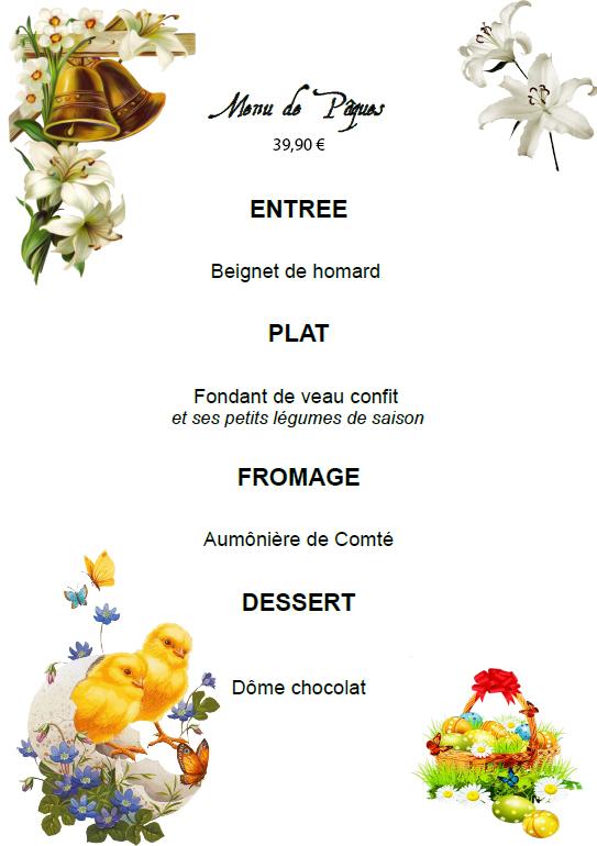 menu restaurant pour paques